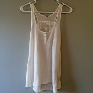 White Free People Wifebeater tank